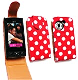 Emartbuy® LG GM360 Viewty Snap Premium PU Leather Flip Case/Cover/Pouch Polka Dots Red / White And LCD Screen Protector