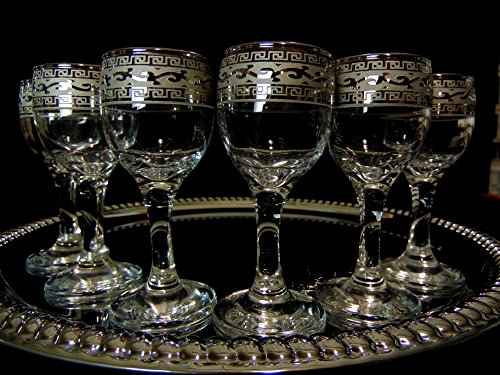Crystal Goose Versace-inspired Bohemian Crystal 2-Ounce Sherry Platinum Glasses, Set of 6