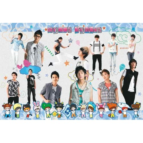 Super Junior cartoon row horiz POSTER 34 x 23.5 SuJu Superjunior Korean boy band Siwon Kyuhyun (poster sent FROM USA in PVC pipe)