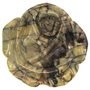 40mm picasso jasper carved rose flower pendant bead