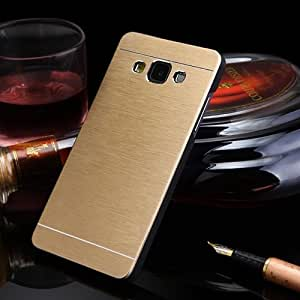DENICELL Royal Brushed Metal Protective Back Case Cover For Samsung Galaxy E7 (CANARY GOLD)
