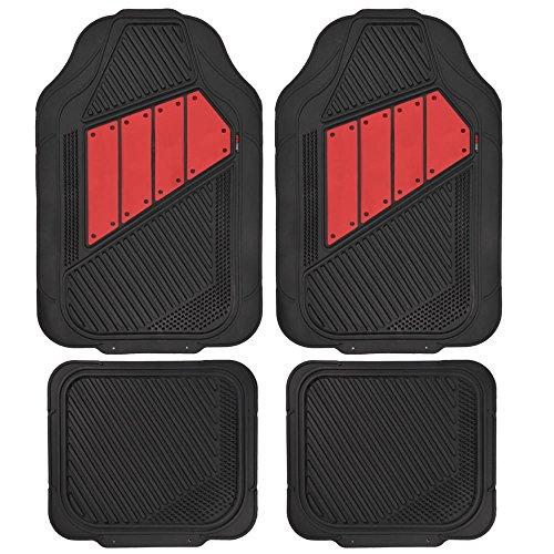 Motor Trend FlexTough 2 Tone Rubber Car Floor Mats for Auto - Heavy Duty All Season Black & Red (Rubber Car Floor Mats Pilot compare prices)