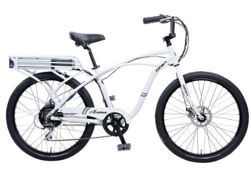 IZIP E3 Zuma Mens Beach Cruiser Electric Bicycle - Cantilever Frame Large - White
