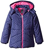 Nautica Big Girls' Printed Puffer Coat With Removable Hood, Navy, 8