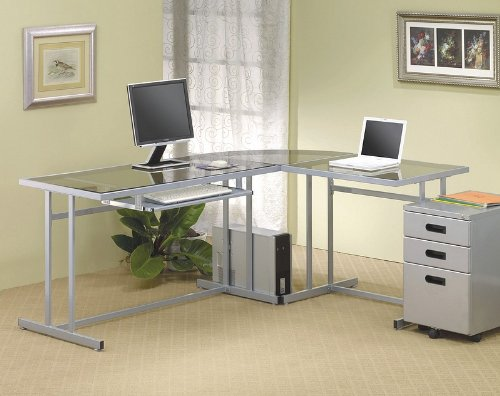 Contemporary L-Shape Silver Metal Glass Top Home Office Computer Desk