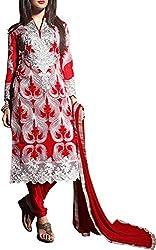 VIDA Women's Georgette Salwar Suit Material (Red)