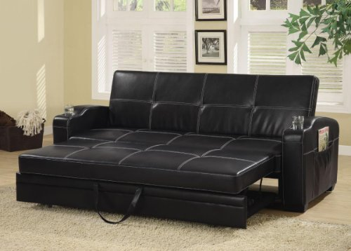 Faux Leather Sofa Bed W/Storage/Cup Holders By Coaster back-907965