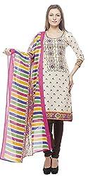 Divyaemporio Women'S Faux Cotton Beige And Brown Salwar Suits Dress Material