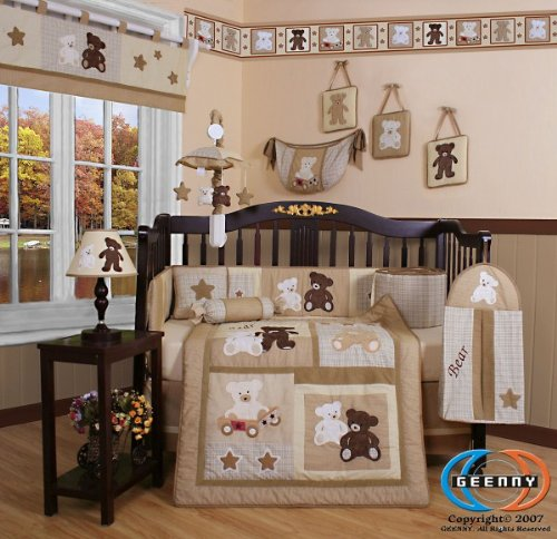 Boutique Baby Teddy Bear CRIB BEDDING SET By GEENNY Designs