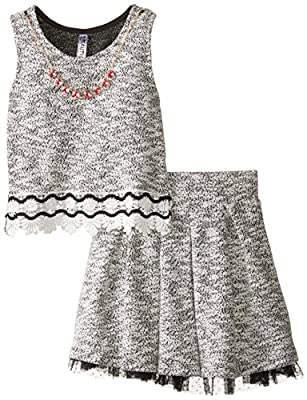 Beautees Big Girls' Sleeveless Necklace Two-Piece Dress by Beautees Children's Apparel