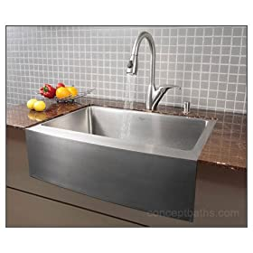 "30"" Stainless Steel Zero Radius Apron Kitchen Sink 15 Gauge"