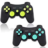 PS3 Controller Wireless 2 Pack Double Shock Bluetooth Joystick Gaming Controller for Playstation 3 with Charger Cable (Blue&Green 2 Pack) (Color: Black, Tamaño: PS3 Controller 2 Pack)