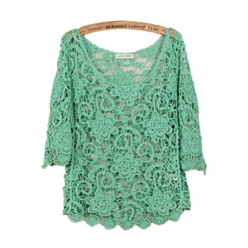 TOPTIE Crocheted Knitted Top Hollow Out Three-quarter Sleeve Tee Shirt Blouse GREEN-M