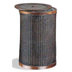 Neu Home Round Wicker Laundry Hamper w/ Lid & Wood Frame 16-3/4 in. W x 16-3/4 in. D x 25 in. H Brown / Dark Wood Stain