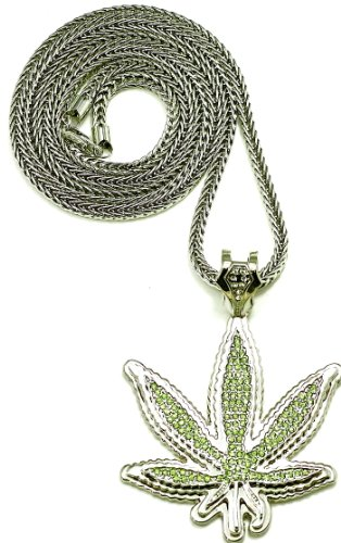 Cannabis Weed Pot Leaf Iced Out Pendant Necklace Silver