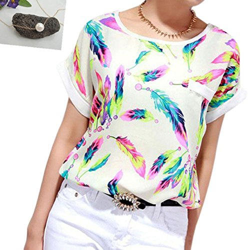 lookatool-womens-feathers-chiffon-blouse-top-casual-short-sleeve-loose-t-shirt