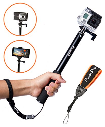 FloatPro-3-in-1-GoPro-Selfie-Stick-Floating-Waterproof-Extendable-Monopod-for-GoPro-Camera-iPhone-Smartphone-Float-Accessories-Quick-Connect-Wrist-Straps-1-Year-Warranty