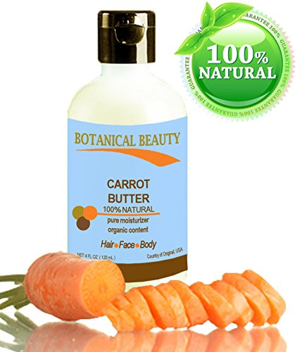 """Carrot Butter 100 % Natural / 100% Pure Moisturizer. Organic Content. Virgin / Unrefined Blend / Cold Pressed. 4 Fl.Oz - 120 Ml. For Skin, Body, Hair And Nail Care. """"One Of The Best Butters To Rejuvenate And Regenerate Skin Tissues."""" By Botanical Beauty."""