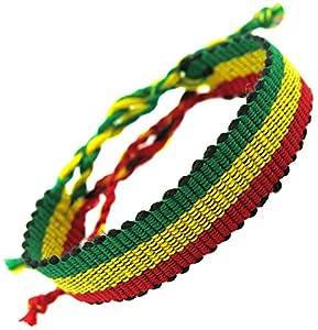 bracelet drapeau rasta reggae jamaique afrique macrame rastafari tissu coton fait main