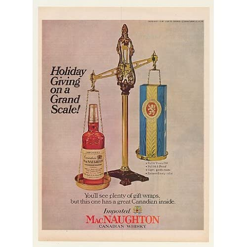 1966 MacNaughton Canadian Whisky Bottle Gift Scale Print Ad (48549)