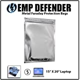 Faraday Cage EMP ESD Bags 5pc Laptop Size Kit Survivalists Preppers