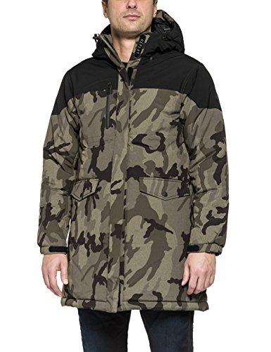 Replay Men's Men's Khaki-Black Hooded Jacket In Size M Green