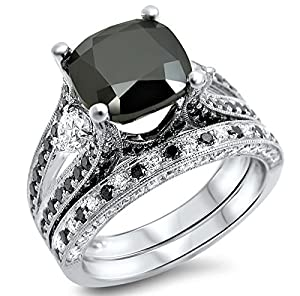 4.55ct Black Cushion Cut Diamond Engagement Ring Bridal Set 14k White Gold