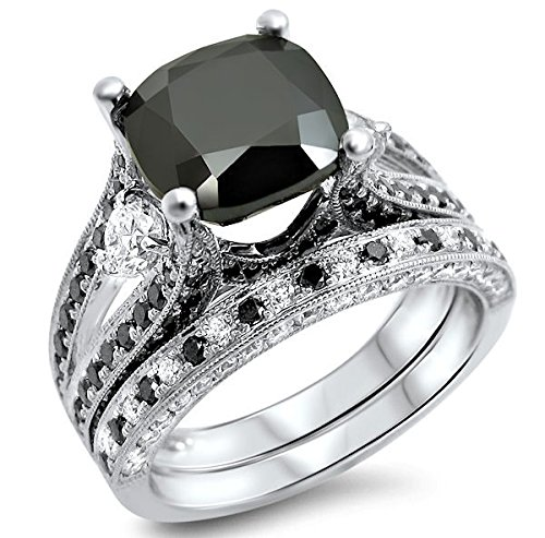 Sams Fashion 4.35 ct Black Cushion Cut Cubic Zirconia Engagement Ring Bridal Set 14k White Gold Plated