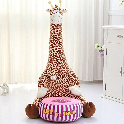 MAXYOYO Soft Velvet Mom and Me Cartoon Animal Washable Kid Bean Bag Sofa Chair Plush,Mom and Me Animal Plush Toy Sofa for Boys and Girls (brown giraffe)
