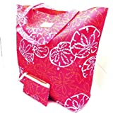 Estee Lauder Lilly Pulitzer Beach Cosmetic Large Tote Bag + Small Pouch Bag Duo