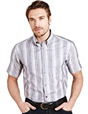 Blue Harbour Linen Blend Bold Striped Shirt