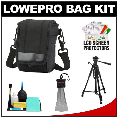 Lowepro ILC Classic 50 Digital Micro Four-Thirds Camera Case (Black) with Deluxe Photo/Video Tripod + Cleaning & Accessory Kit for Sony Alpha NEX-3, NEX-5, NEX-C3, NEX-5N, NEX-7 Digital Cameras