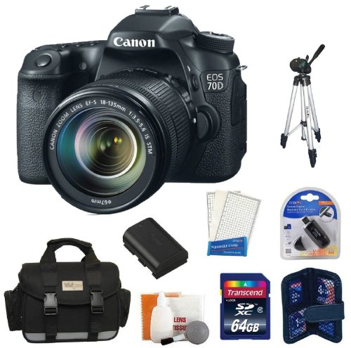 Canon Eos 70D 20.2 Mp Digital Slr Camera With Dual Pixel Cmos Af And Ef-S 18-135Mm F3.5-5.6 Is Stm Kit + 64 Gb Master Kit