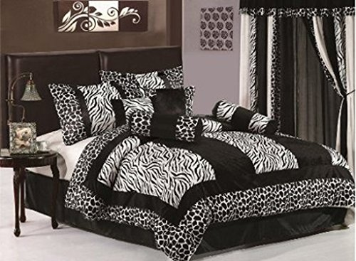 7 Piece Safari - Zebra - Giraffe Print Bed-In-A-Bag Black & White Micro Fur Comforter Set, Queen Size Bedding