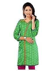 Lavis Pista Green Pure Printed Cotton Kurti