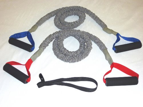 2 FIT CORD Covered Resistance Bands PADDED HANDLES, NYLON SAFETY SLEEVE & PREMIUM LATEX EXERCISE TUBE ** 1 MEDIUM AND 1 HEAVY TONER WITH 1 DOOR ANCHOR **