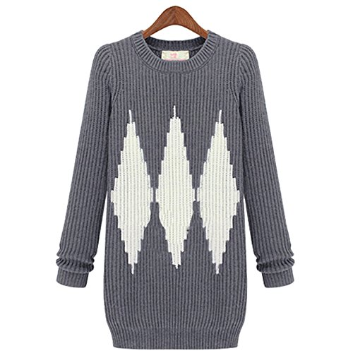 Whats Up Women's Crew Neck Knitted Geometry Color Block Sweater Dress Plus Size