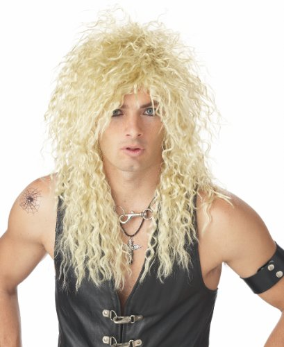 California Costumes Mens 80s Rockstar Curly Long Blonde Mullet Costume Wig
