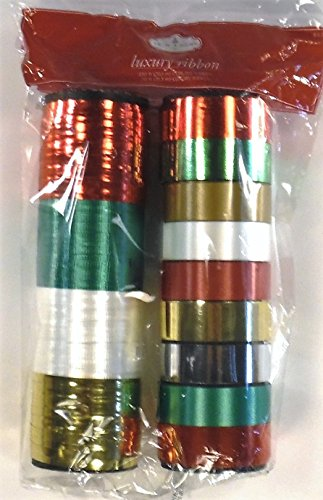 Luxury Gift Wrap & Craft - 9 Ribbons (red, white, green, gold , silver 230 ft. total) and 4 Curling Ribbons (red, white, green, gold 70ft. total)