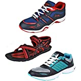 Earton Men Combo Pack Of 3 Sport Shoes With Sandals