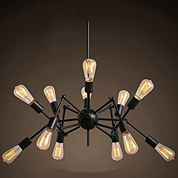 Aero Snail Creative Metal Pendant Light Vintage Black Barn Chandelier with 12 Lights Painted Finish