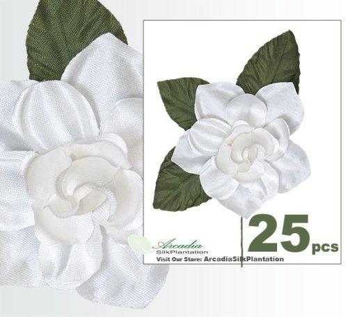 25 Pieces of Handwrapped Gardenia Artificial Silk Flower Picks