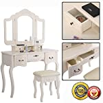New Tri Folding Vintage White Vanity Makeup Dressing Table Set 5 Drawers &stool
