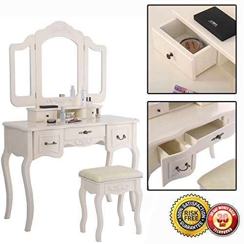 New Tri Folding Vintage White Vanity Makeup Dressing Table Set 5 Drawers &stool 0