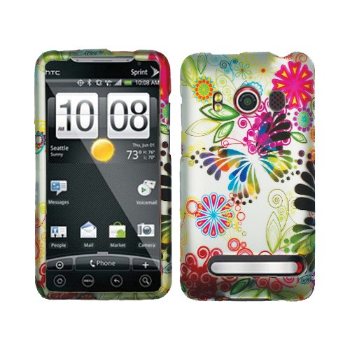 Blue Orange Green Colorful Painting Butterfly Flower Rubberized Snap on Design Hard Case Faceplate for Sprint Htc Evo 4g