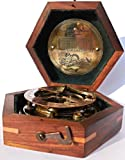Steampunk for Solid brass Sundial Compass in fitted Wooden Box. C-3052