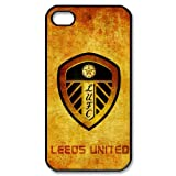 Custom The Whites United The Peacocks Leeds United A.F.C iPhone 4,4S Hard Plastic Shell Case Cover White&Black(HD image)