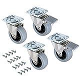 Emuca-Lenkrollen-fr-Mbel-2-mit-und-2-ohne-Bremse-Diameter-mit-Anschraubplatte-und-Kugellager