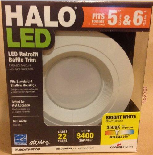 Halo Recessed Rl560Wh6835 6-Inch Recessed 3500K Led Retrofit Baffle