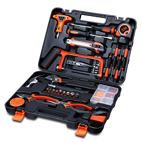 Carrolner 82pcs General Household-hardware Tool Kit with Plastic Toolbox Storage Case,Screwdriver,Wrench,Claw Hammer,Pliers,Tape (Household Screwdriver compare prices)